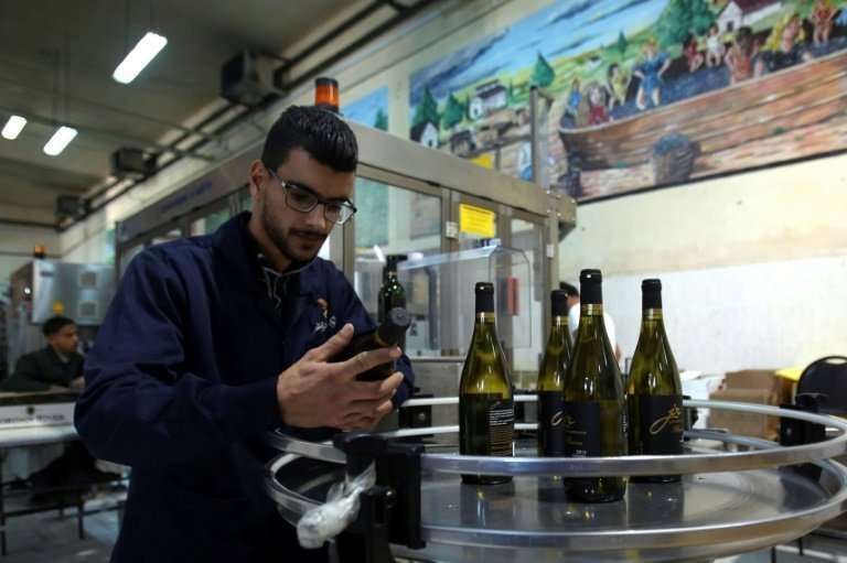"""Workers inspect bottles at Eagle Distilleries in Zarqa, east of Amman—but while the makers say the wine is """"exceptional&quo"""