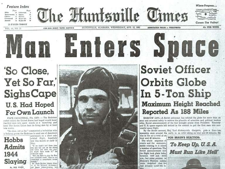 Yury Gagarin hit the headlines around the world after his historic feat, in this case The Huntsville Times in the United States