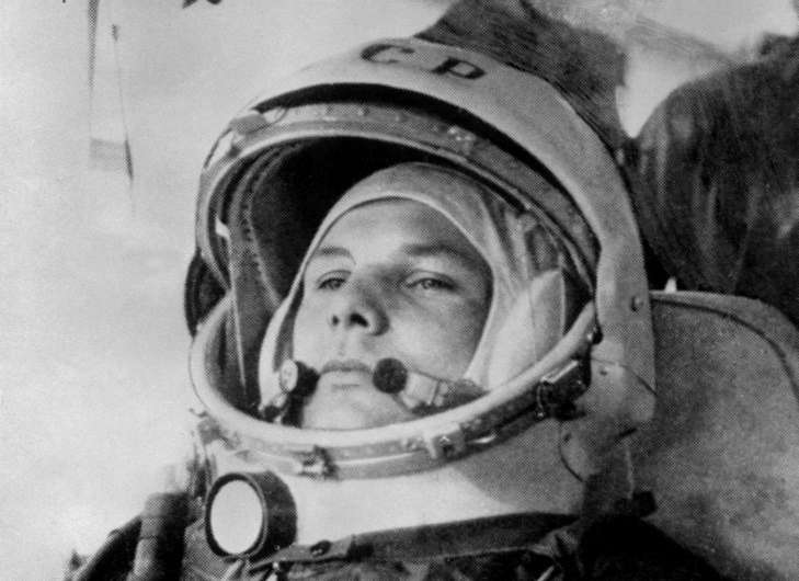 Yury Gagarin prepares to blast off into space aboard the Vostok I on April 12, 1961