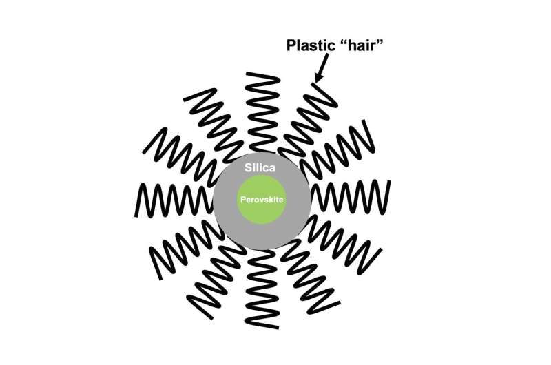 Armored with plastic 'hair' and silica, new perovskite nanocrystals show more durability