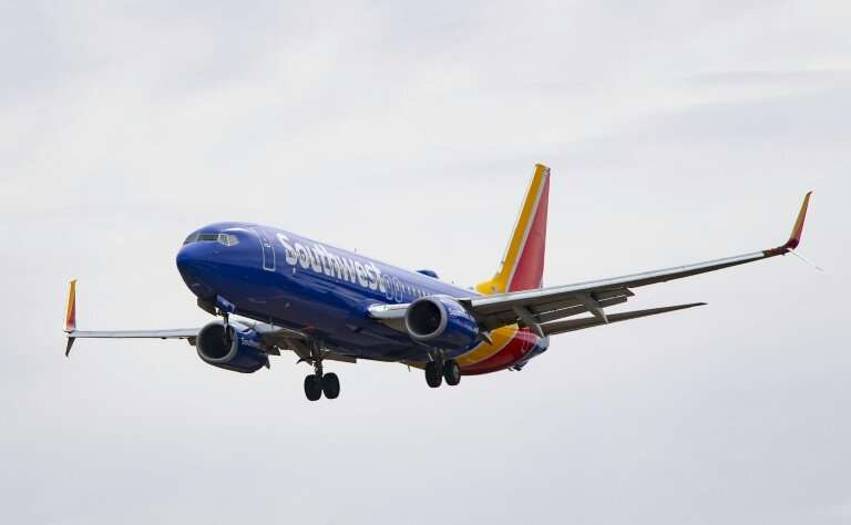 A Boeing 737 Max 8 flown by Southwest Airlines approaches for landing at Baltimore Washington International Airport near Baltimo