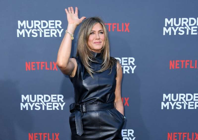 """Actress Jennifer Aniston arrives to attend the Los Angeles premiere screening of the Netflix film """"Murder Mystery"""" at"""