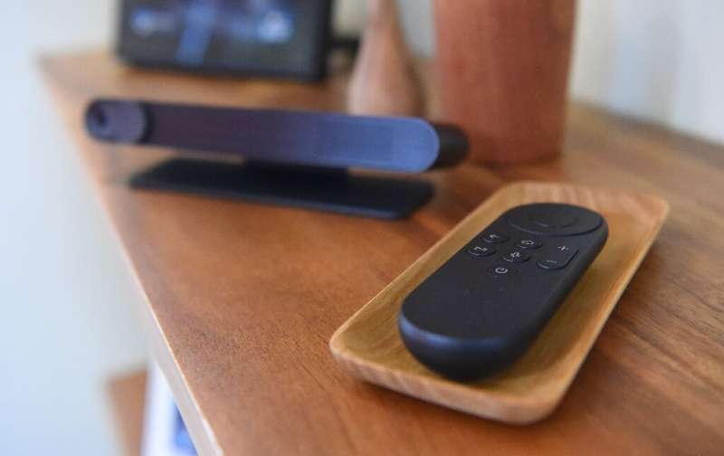 A Facebook Portal TV remote control is seen on display during a media event held in San Francisco