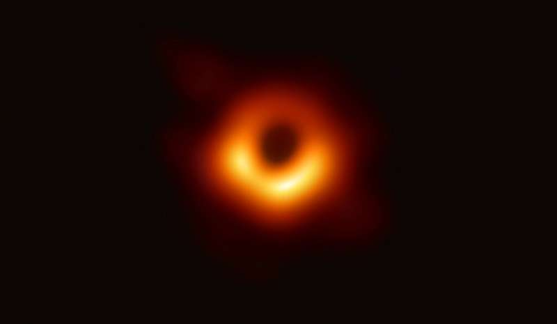 A handout photo provided by the European Southern Observatory on April 10, 2019 shows the first photograph of a black hole and i
