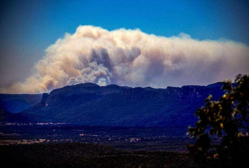 A large bushfire in the Wollemi National Park near Lithgow, west of Sydney