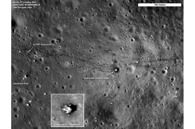 A NASA photo taken on September 6, 2011 shows the Apollo 17 landing site, taken by the Lunar Reconnaissance Orbiter Camera in or