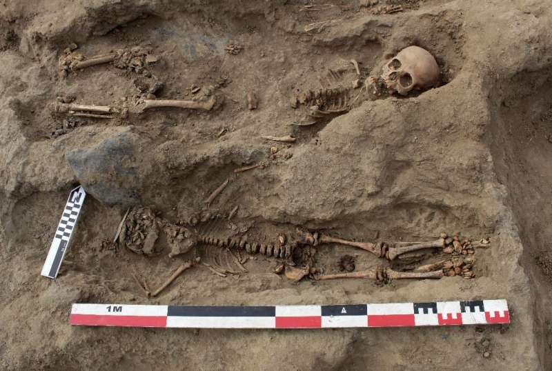 An August 27, 2019 photo from Programa Arquelogico Huanchacho shows the remains of two of the 227 children uncovered by archaeol