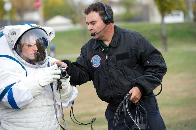 A prototype of a lunar spacesuit developed at the University of North Dakota