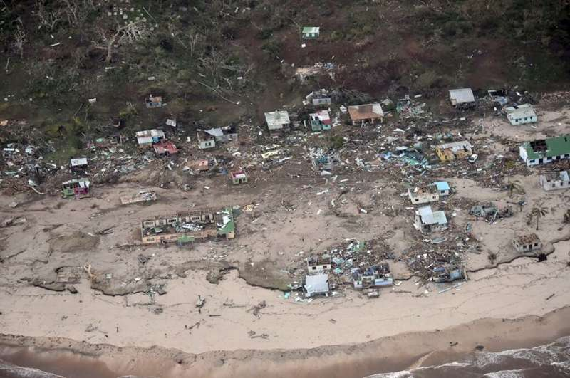 Damage is pictured around Tavua on the main Fijian island of Viti Levu after Cyclone Winston struck in 2016, killing 44 people