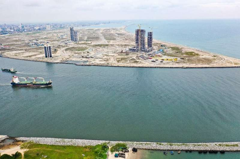 Eko Atlantic, pictured here in an aerial photograph, has been billed as a Dubai for Africa, a hyper-luxury enclave of skyscraper