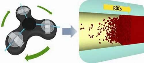Fidget spinner as centrifuge separates blood plasma