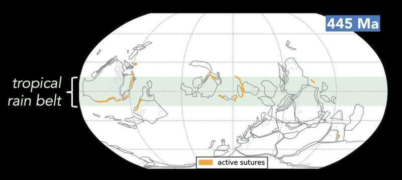 Ice Ages occur when tropical islands and continents collide