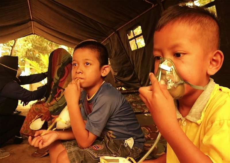 Indonesian children get a dose of oxygen from a Red Cross volunteer. UNICEF says the forest fires are puttling nearly 10 million