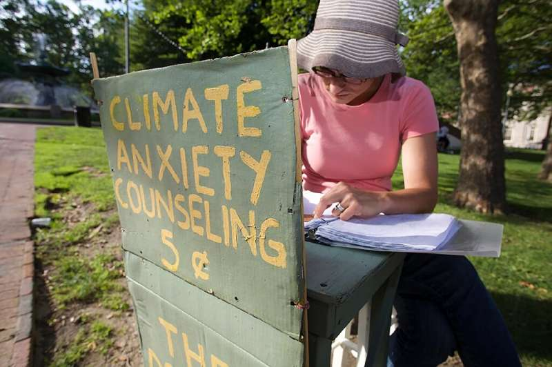 """Kate Schapira, a 40-year-old senior lecturer in the English department at Brown University, mans her """"climate anxiety"""""""
