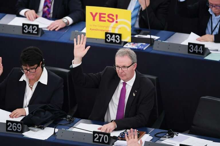 MEP Axel Voss, who supports the copyright reforms, votes in European Parliament on Tuesday