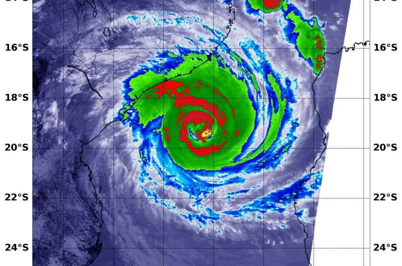 NASA infrared imagery reveals powerful Tropical Cyclone Idai at Mozambique's coast