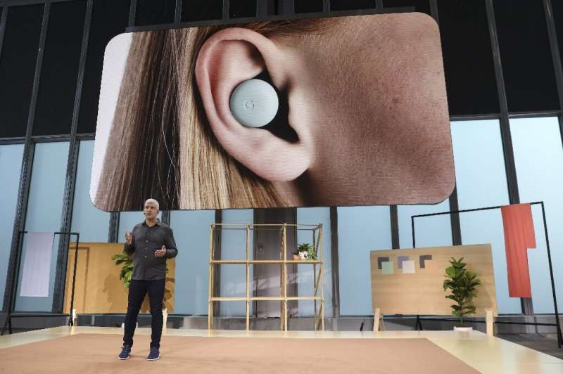 Rick Osterloh, vice president of devices and services at Google, discusses the new Pixel Buds ear pods during a launch event on