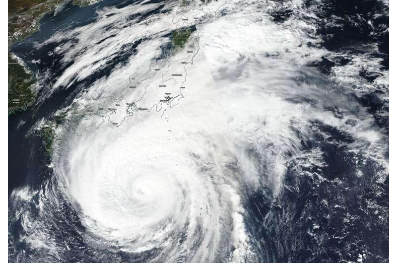 Suomi NPP satellite finds a weaker typhoon Hagibis nearing Japan