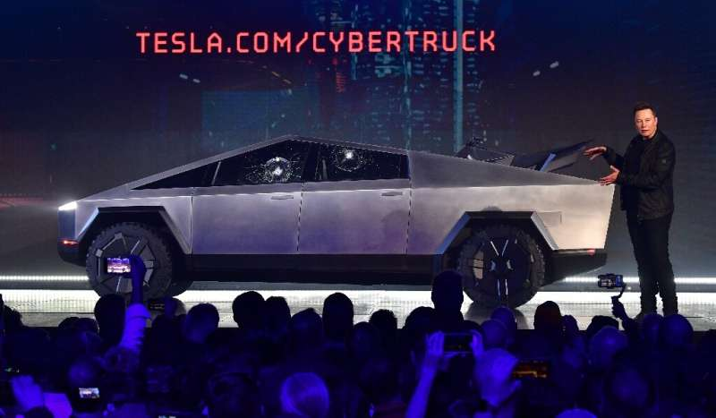 Tesla co-founder and CEO Elon Musk presentING the all-electric battery-powered Tesla Cybertruck at Tesla Design Center in Hawtho