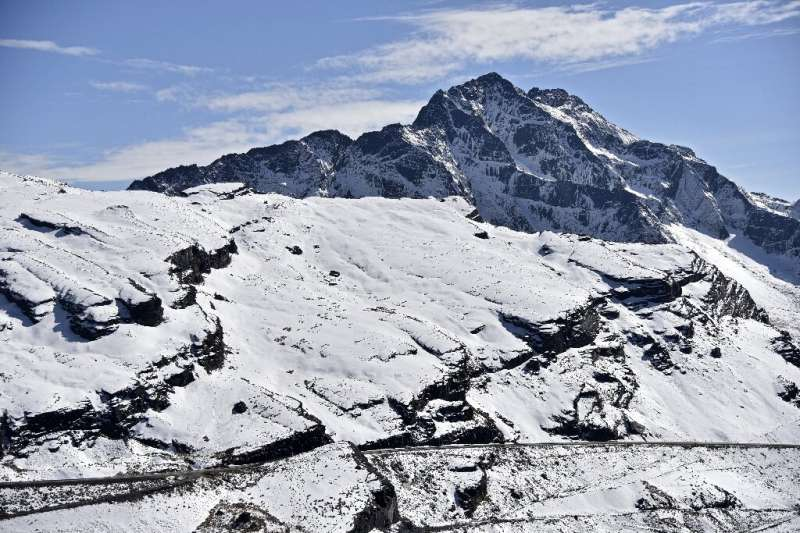 The Andes Mountains in Bolivia, the melt-off of which flows to the Incachaca dam, which supplies the city of La Paz with water,