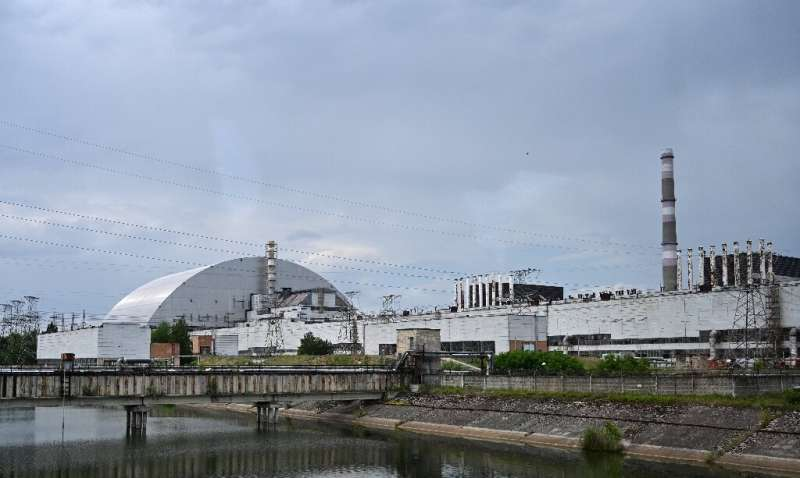 The Chernobyl nuclear power plant with the New Safe Confinement dome covering the remains of the fourth reactor