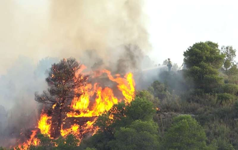 The fire spread quickly due to strong winds and soaring temperatures