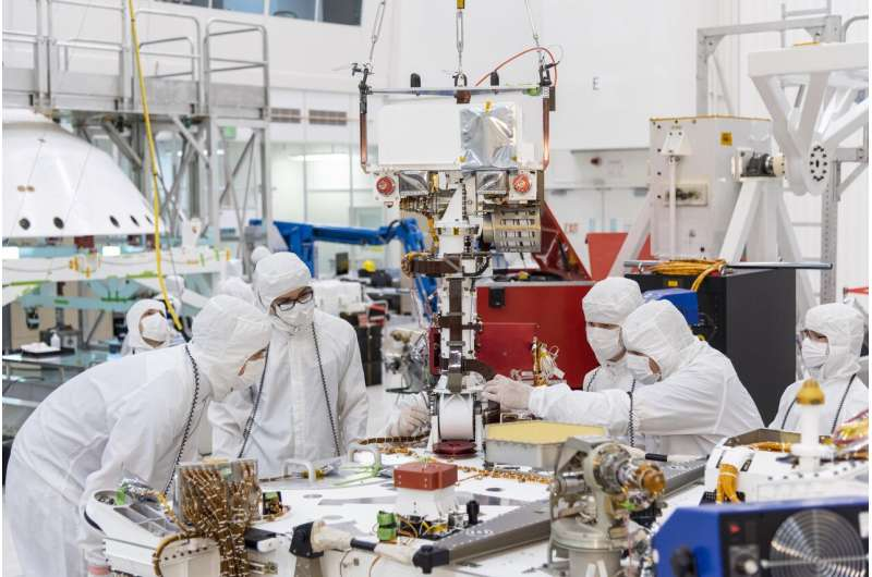 The mast is raised for NASA's Mars 2020 rover