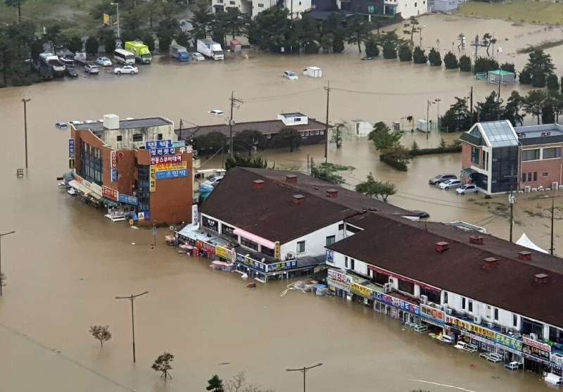 Typhoon Mitag left floods and landslides in its wake after it lashed South Korea