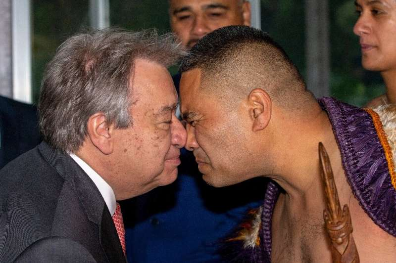 UN Secretary-General Antonio Guterres (L) will also take visit Fiji, Tuvalu and Vanuatu which are under threat from rising sea l