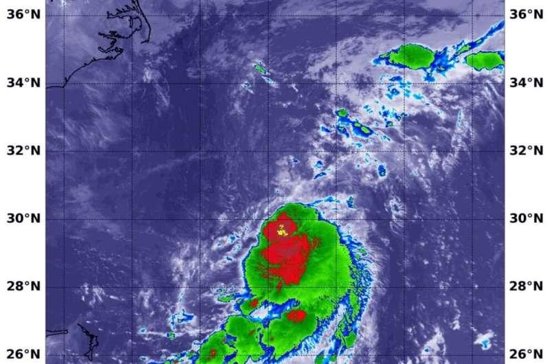 NASA finds Tropical Depression battling wind shear off the Carolina coast