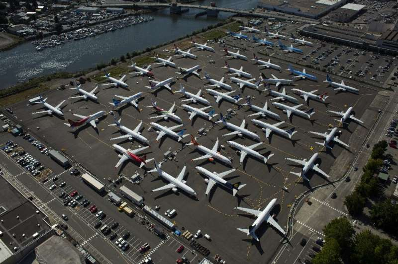Boeing 737 Max planes, photographed last month, sit idle near Boeing Field in Seattle