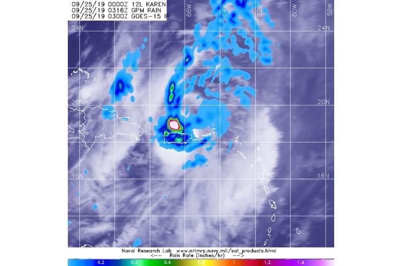 NASA finds Tropical Storm Karen bringing heavy rain to Puerto Rico