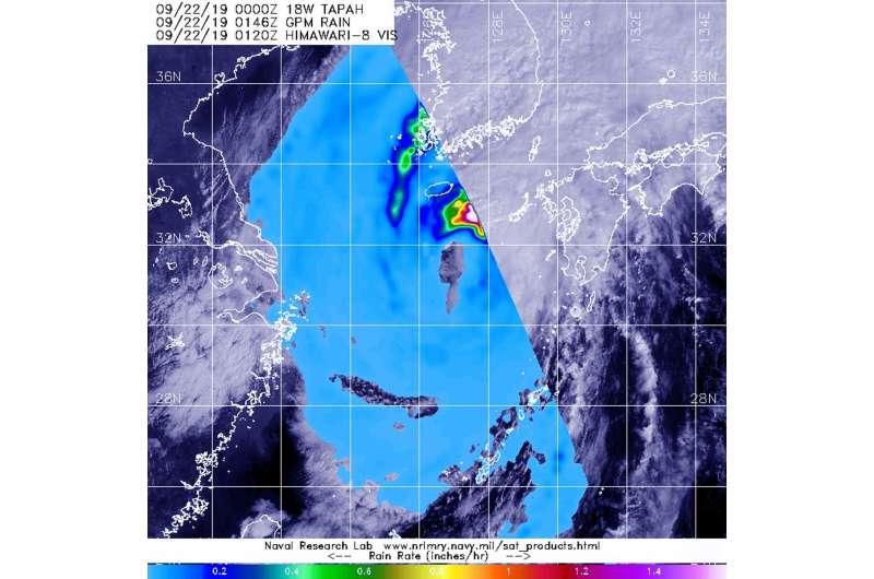 NASA satellite data shows Tapah becoming extra-tropical