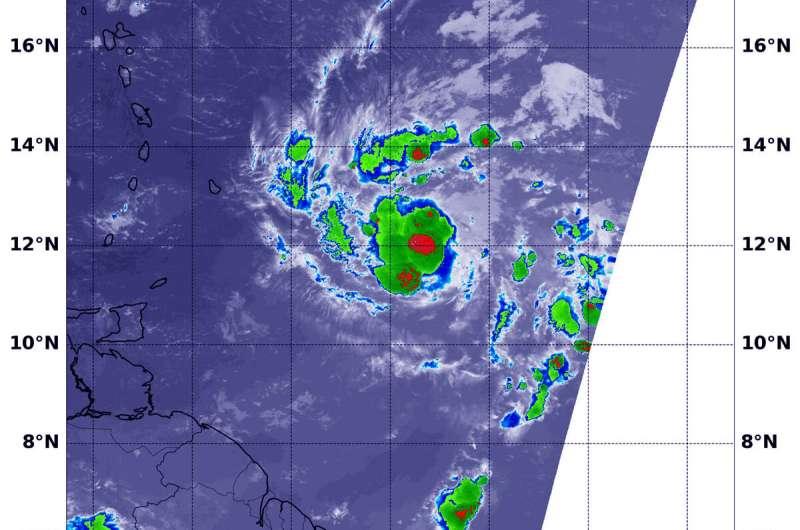 NASA-NOAA satellite finds heavy rainmaking ability in tropical storm Dorian
