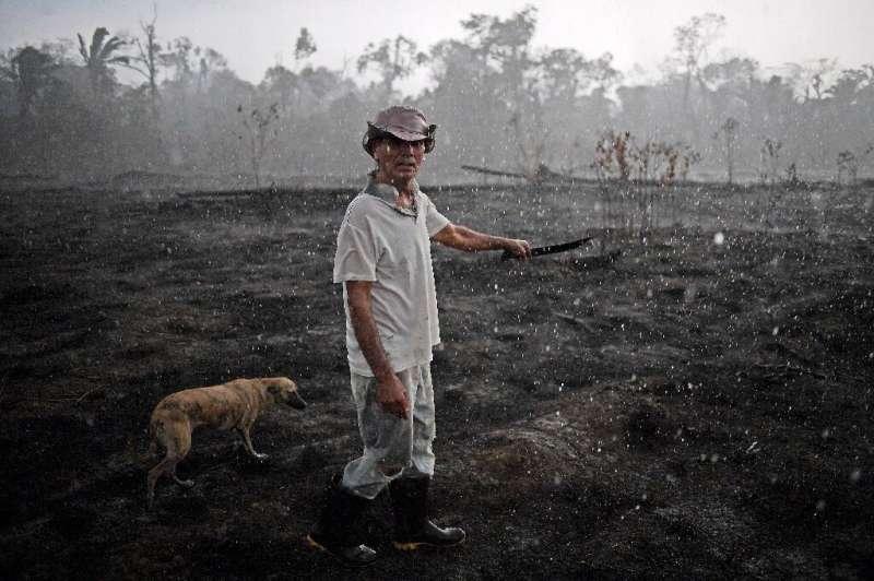 Brazilian farmer Helio Lombardo Do Santos and a dog walk through a burnt area of the Amazon rainforest, near Porto Velho, Rondon
