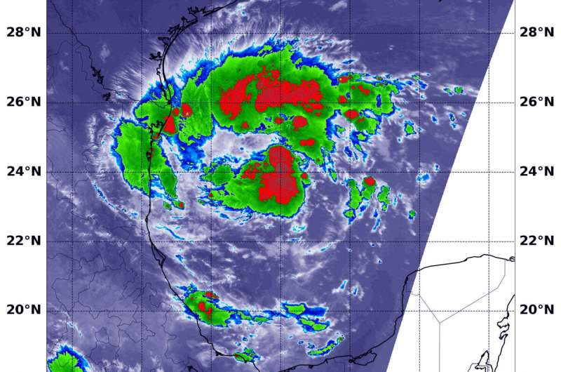 NASA infrared data reveals rainmaking potential in tropical depression 7