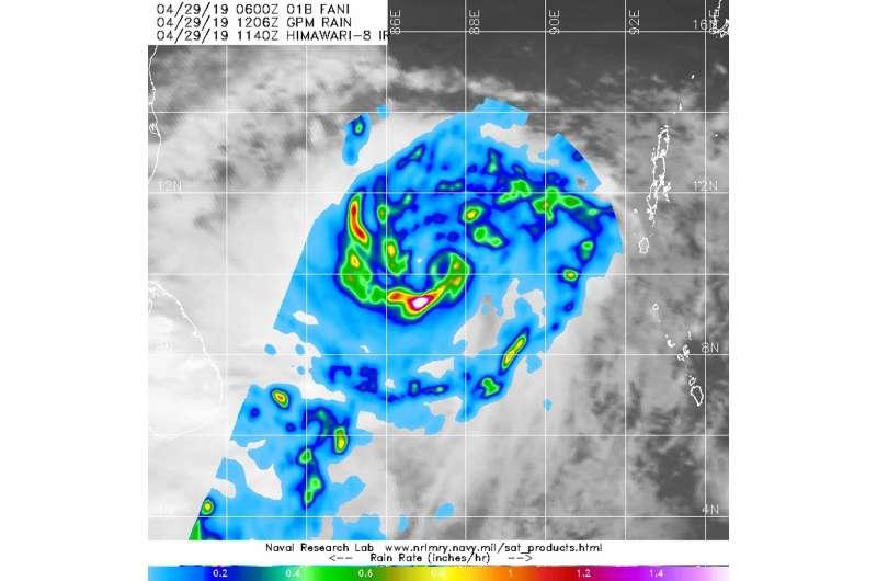 NASA looks at Tropical Storm Fani's rainfall rates