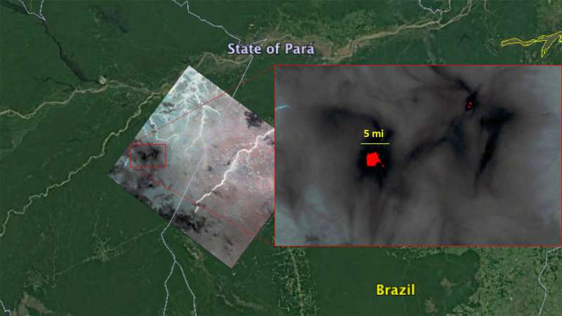 NASA's ECOSTRESS detects Amazon fires from space