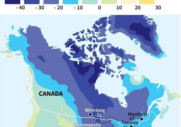 North America in deep freeze