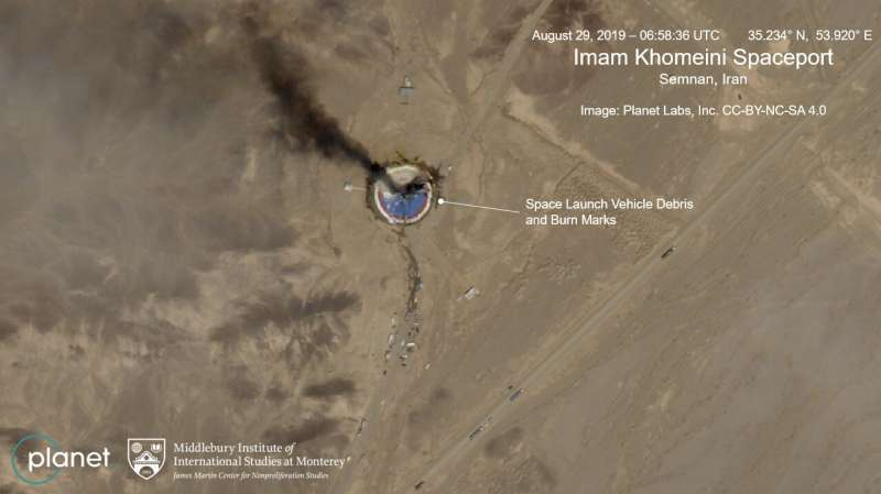 Satellite photos show burning Iran space center launch pad