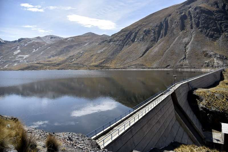 The Incachaca dam, which supplies the city of La Paz, Bolivia with water, is seen September 12, 2019