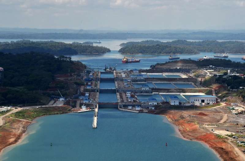 This aerial photo taken in May 2016 shows the new Panama Canal expansion at the Gatun Locks in Colon, Panama