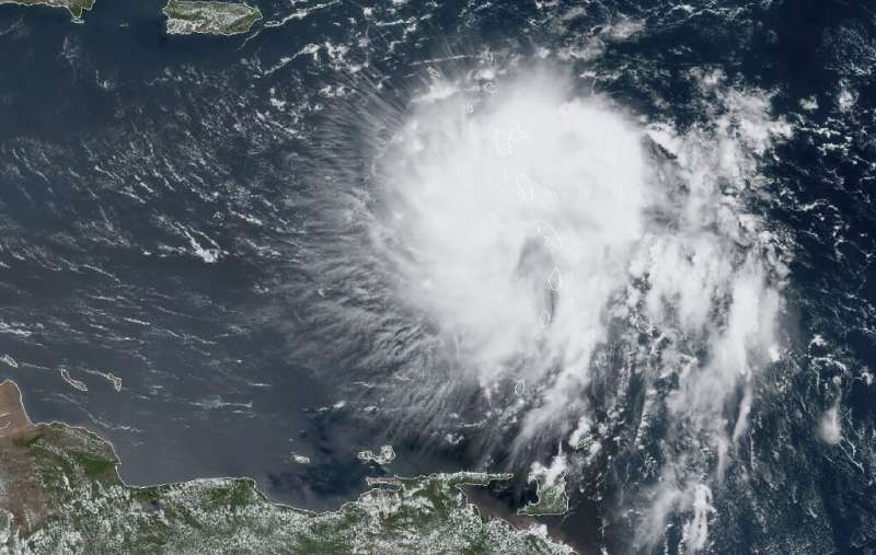 This satellite image obtained from NOAA/RAMMB, shows Tropical Storm Dorian as it approaches the Caribbean at 16:30 UTC on August