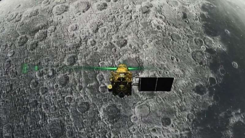 This screen grab taken from a live webcast by the Indian Space Research Organisation (ISRO) shows the Vikram lander before it wa