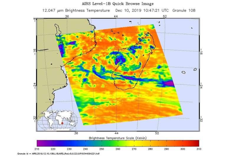 NASA finds Tropical Storm Belna's heavy rainfall potential shrinks