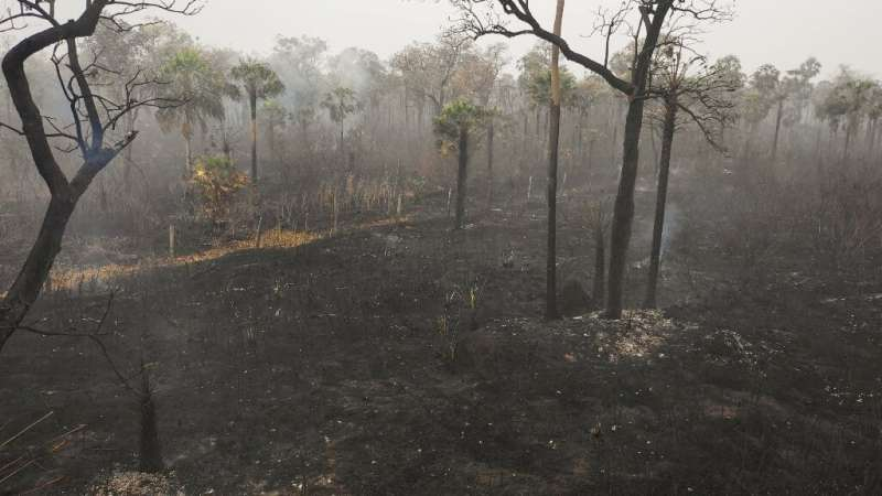 An aerial view of damage caused by wildfires in Otuquis National Park, in the Pantanal ecoregion of Bolivia, southeast of the Am