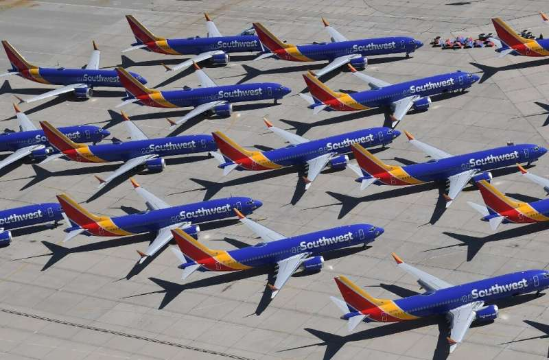 Southwest Airlines, whose Boeing 737 MAX aircraft are shown here parked on a California tarmac, again pushed back its timeframe