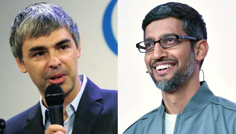 Sundar Pichai (R) takes over the Larry Page as CEO of Alphabet, the holding company which inlcudes Google and a number of projec