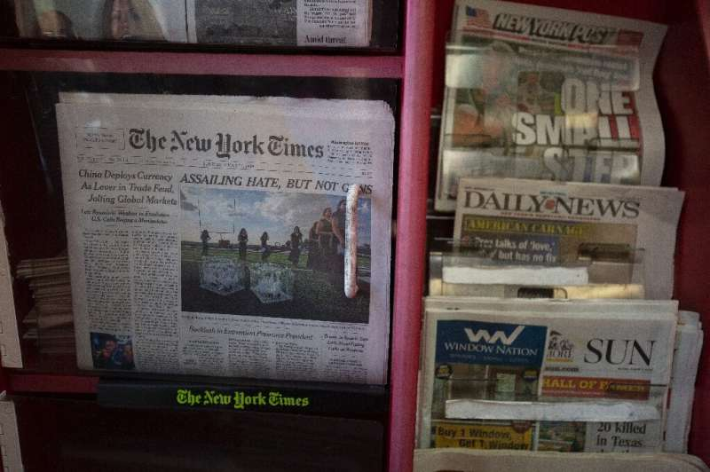 The New York Times said it gained subscribers in the past quarter but that ad revenues declined, denting profits