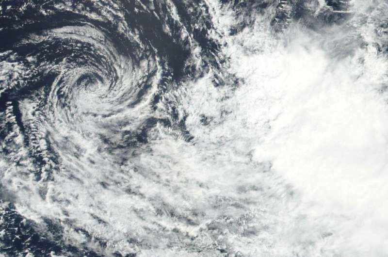 Tropical Cyclone Savannah dissipating in Suomi NPP satellite imagery